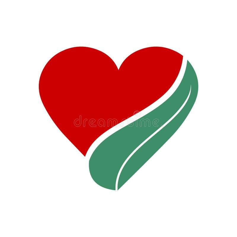 Symbol för hjärta- och bladecovänskapsmatch royaltyfri illustrationer