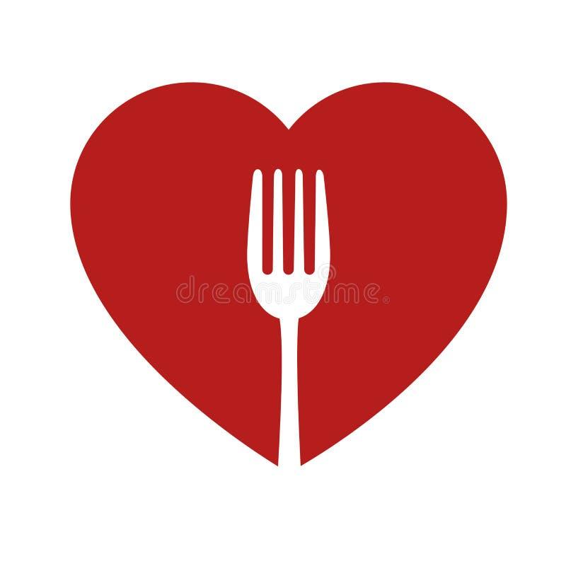 symbol för hjärta och sund för mat för gaffeltecken vektor illustrationer