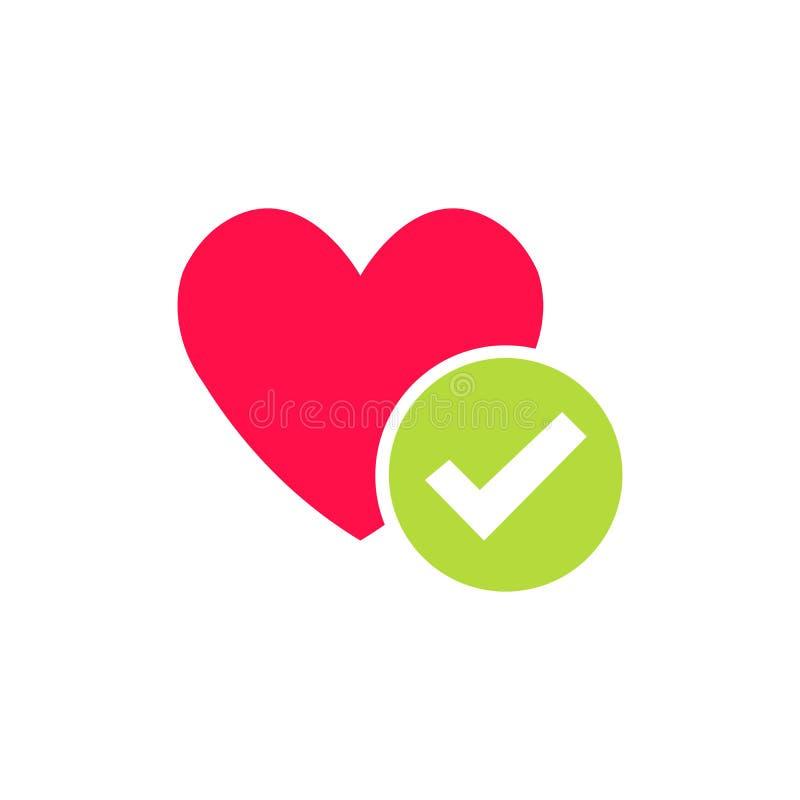 Symbol för hjärtafästingvektor Hjärta för plan design för tecknad film sund med checkmarksymbol Mediciner för hjärta, stor livsst royaltyfri illustrationer