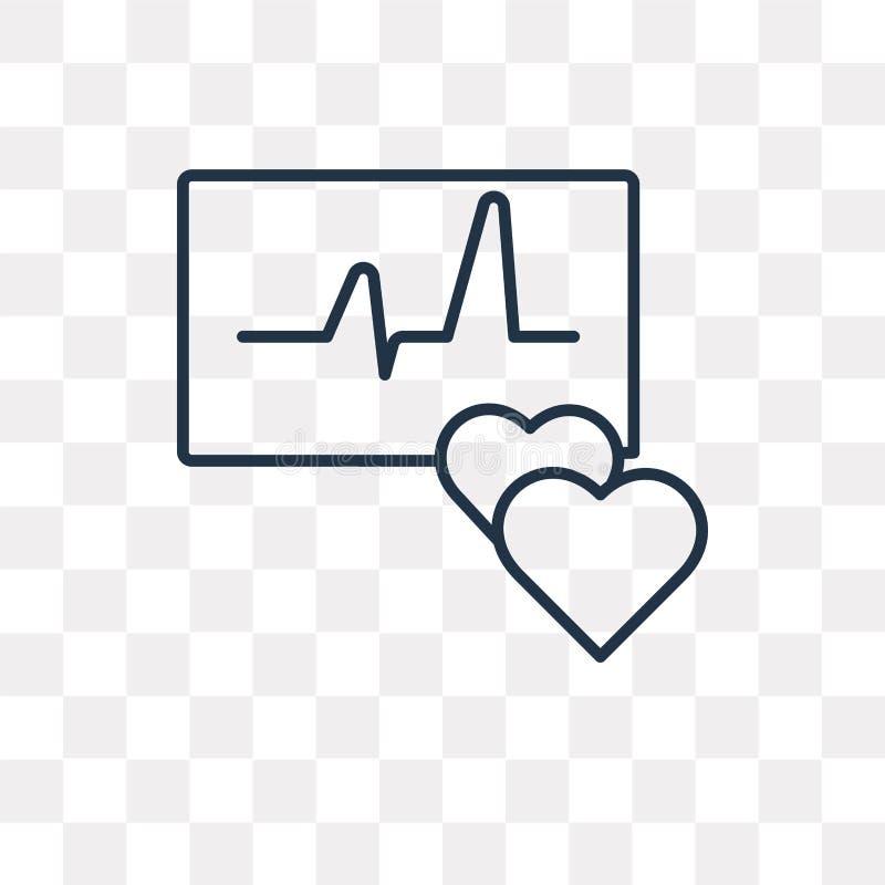 Symbol för hjärtametervektor som isoleras på genomskinlig bakgrund, linje stock illustrationer