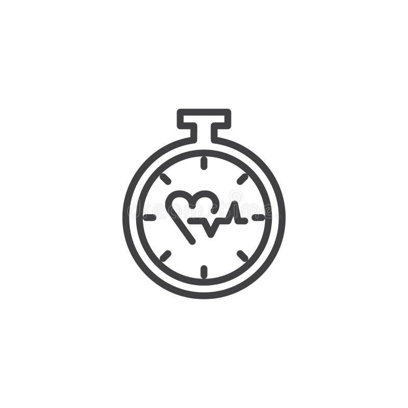 Symbol för hjärtatidmätareöversikt vektor illustrationer