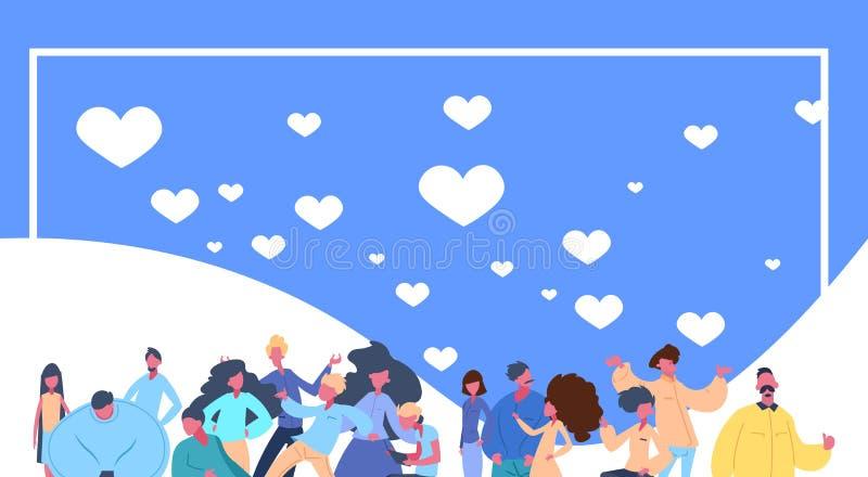 Symbol för hjärtor för folkgruppflyg på horisontalståenden för blå bakgrundslägenhet stock illustrationer