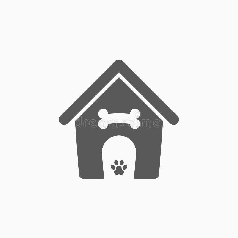 Symbol för hundhus, husdjur, hus, skydd stock illustrationer