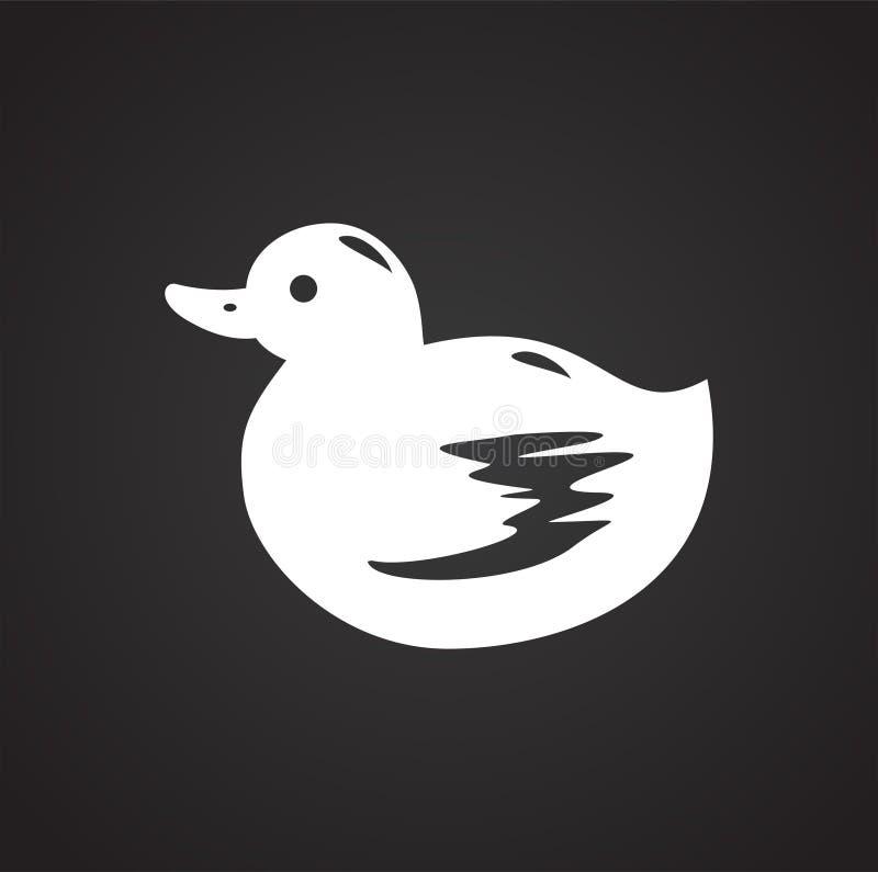 Symbol för husdjurleksakand på svart bakgrund för diagrammet och rengöringsdukdesignen, modernt enkelt vektortecken för färgbegre royaltyfri illustrationer