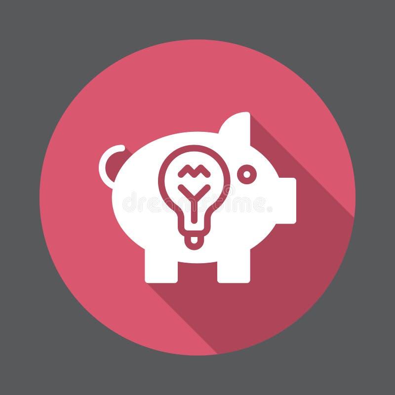 Symbol för idéspargrislägenhet Rund färgrik knapp, runt vektortecken med lång skuggaeffekt stock illustrationer