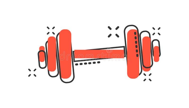Symbol för idrottshall för kondition för vektortecknad filmhantel i komisk stil Skivstång stock illustrationer