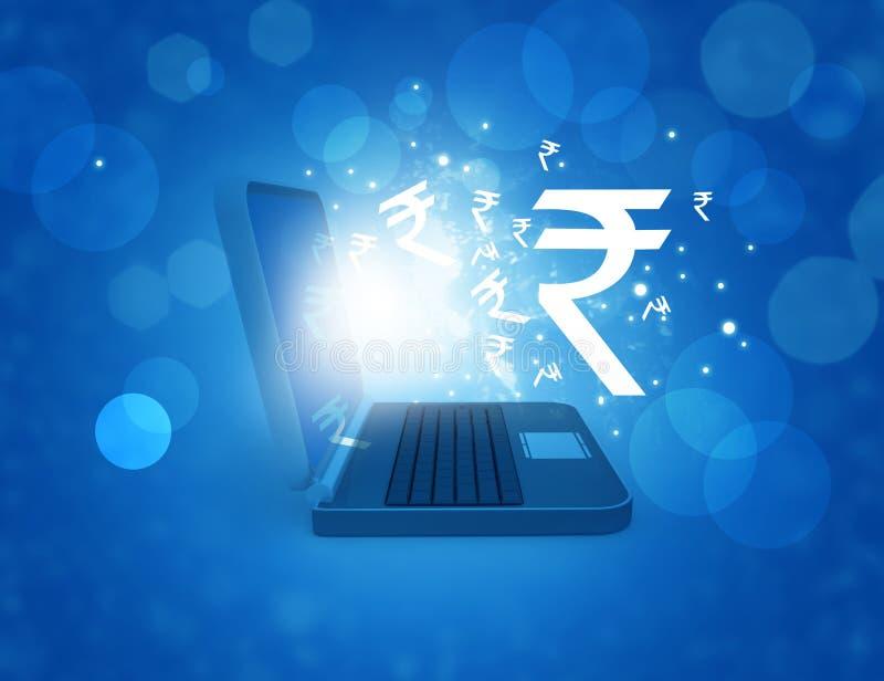 Symbol för indisk rupie i bärbar dator vektor illustrationer