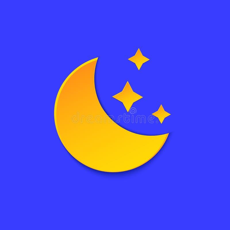 Symbol för information om måneväderprognos Gult nattsymbol, pappers- snittstil för stjärnor på blått Klimatväderbeståndsdel moder royaltyfri illustrationer