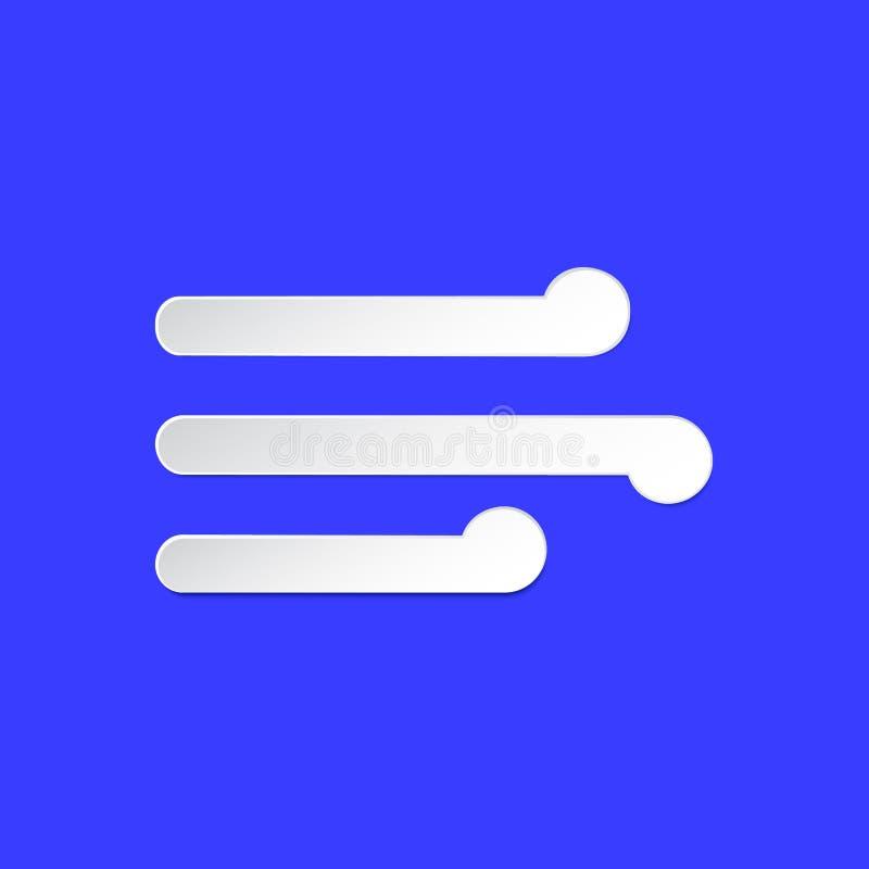 Symbol för information om vindväderprognos Blåsig dag stil för snitt för luftslagpapper på blått Årlig beståndsdel för klimat Mod stock illustrationer