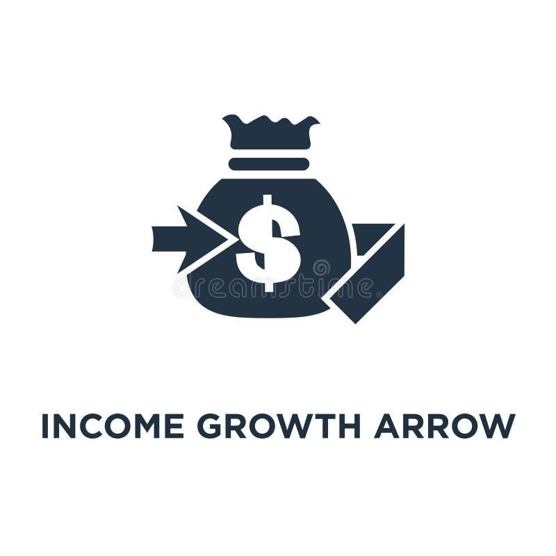 symbol för inkomsttillväxtpil packa ihop service, pensionsparkonto, räntesats, design för symbol för begrepp för lyfta för fond s stock illustrationer