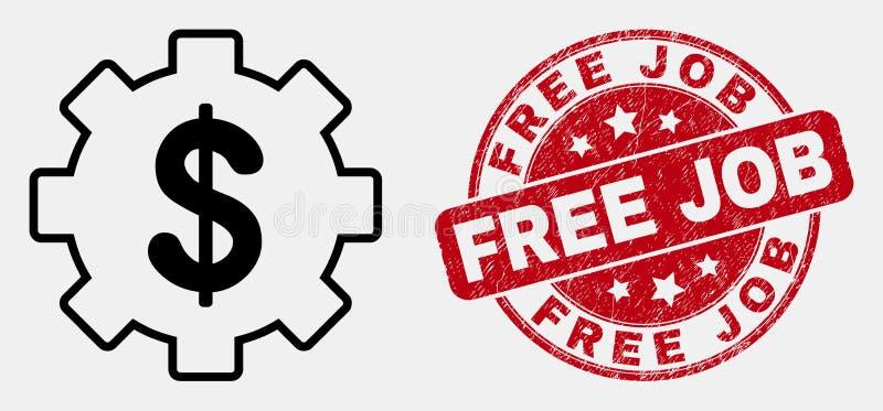Symbol för inställningar för vektorkontur finansiell och skrapad fri jobbskyddsremsa royaltyfri illustrationer