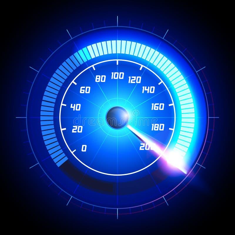 Symbol för instrumentbräda för hastighetsmätare för vektorillustrationbil Panel för mätning för design för teknologi för lopp för vektor illustrationer