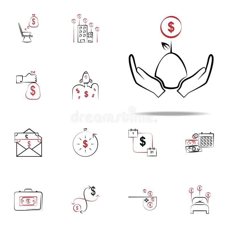 Symbol för investeringinkomst Finansiera den universella uppsättningen för symboler för rengöringsduk och mobil vektor illustrationer