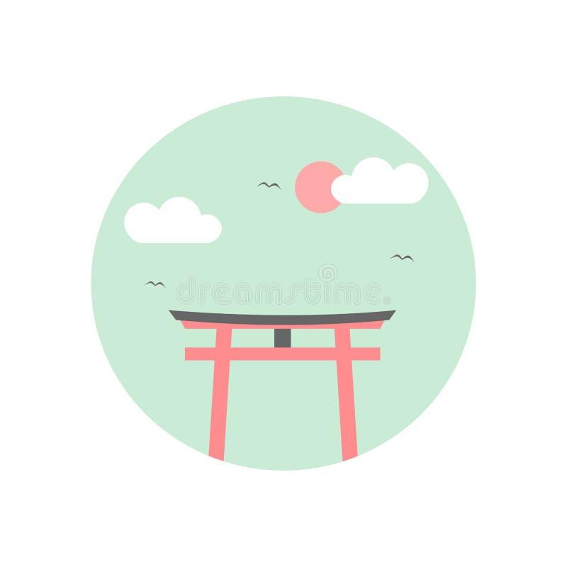 Symbol för Japan traditionell Torii portvektor royaltyfri illustrationer
