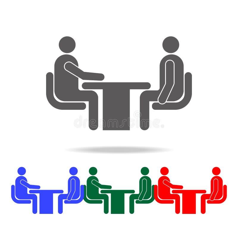 Symbol för jobbintervju Beståndsdelar av konversation i mång- kulöra symboler Högvärdig kvalitets- symbol för grafisk design Enke stock illustrationer