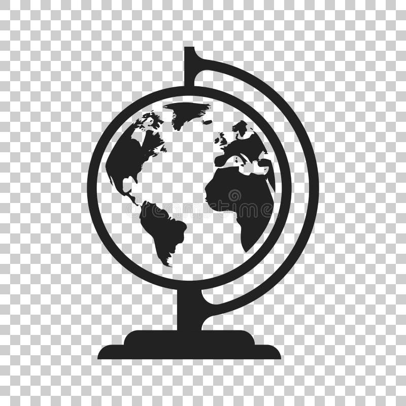 Symbol för jordklotvärldskartavektor Rund illustratio för jordlägenhetvektor vektor illustrationer