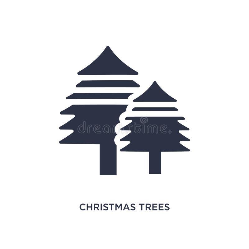 symbol för julträd på vit bakgrund Enkel beståndsdelillustration från ekologibegrepp royaltyfri illustrationer