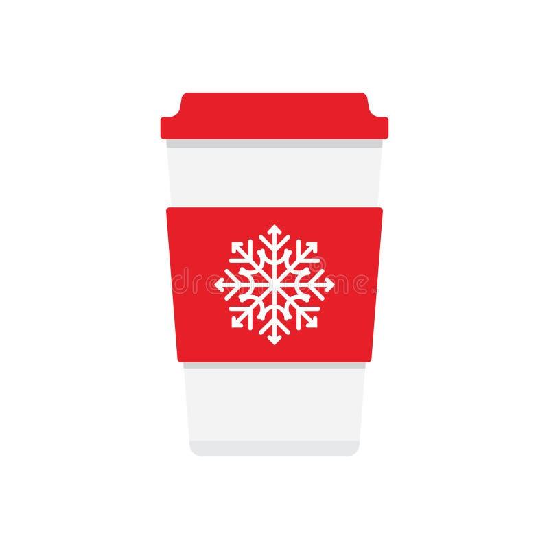 Symbol för kaffekopp med snöflingalogo vektor illustrationer