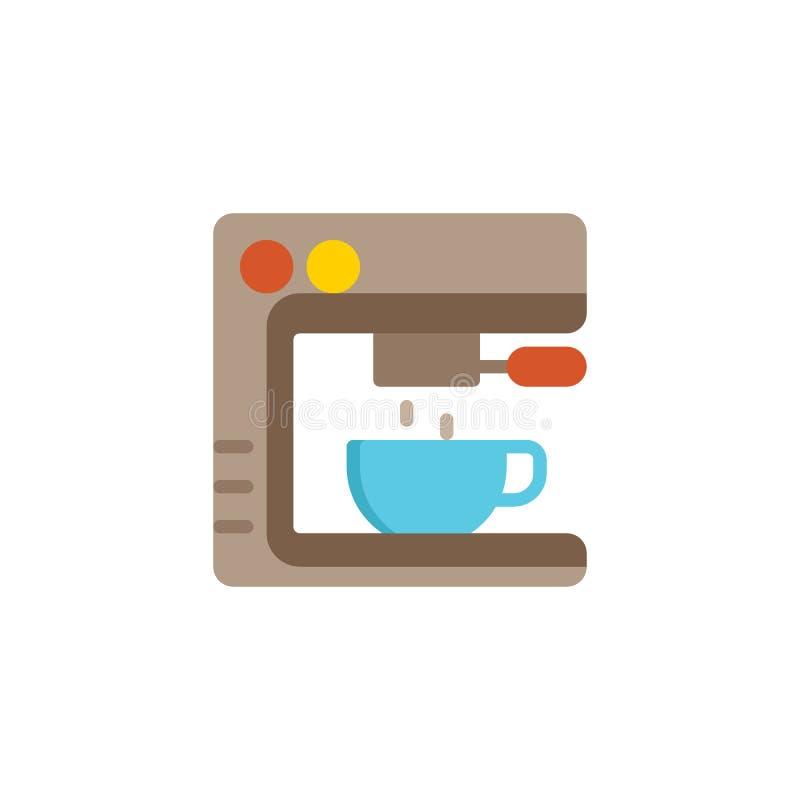 Symbol för kaffemaskinlägenhet royaltyfri illustrationer