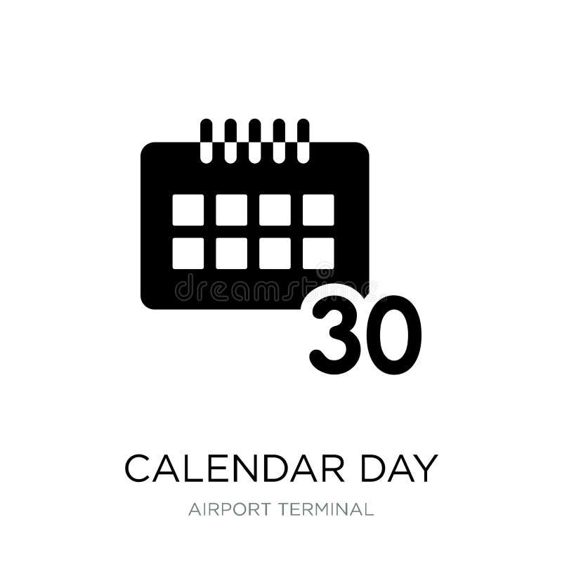symbol för kalenderdag trettio i moderiktig designstil symbol för kalenderdag som trettio isoleras på vit bakgrund vektor för kal royaltyfri illustrationer
