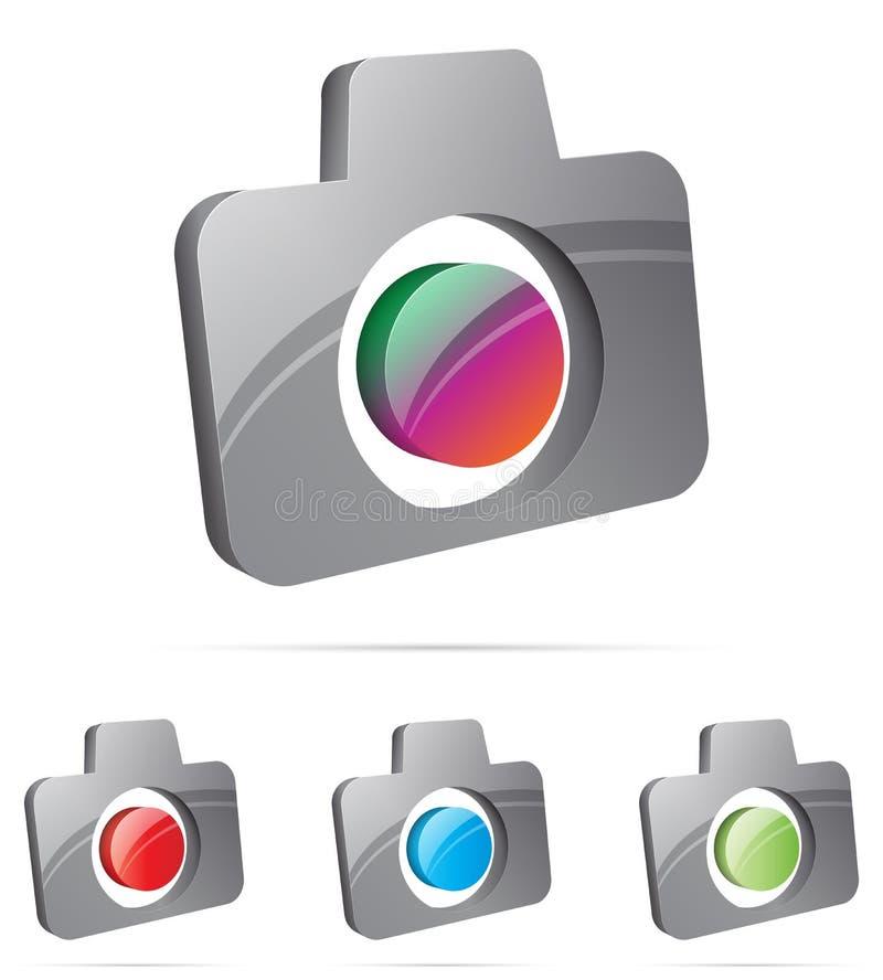 symbol för kamera 3d stock illustrationer