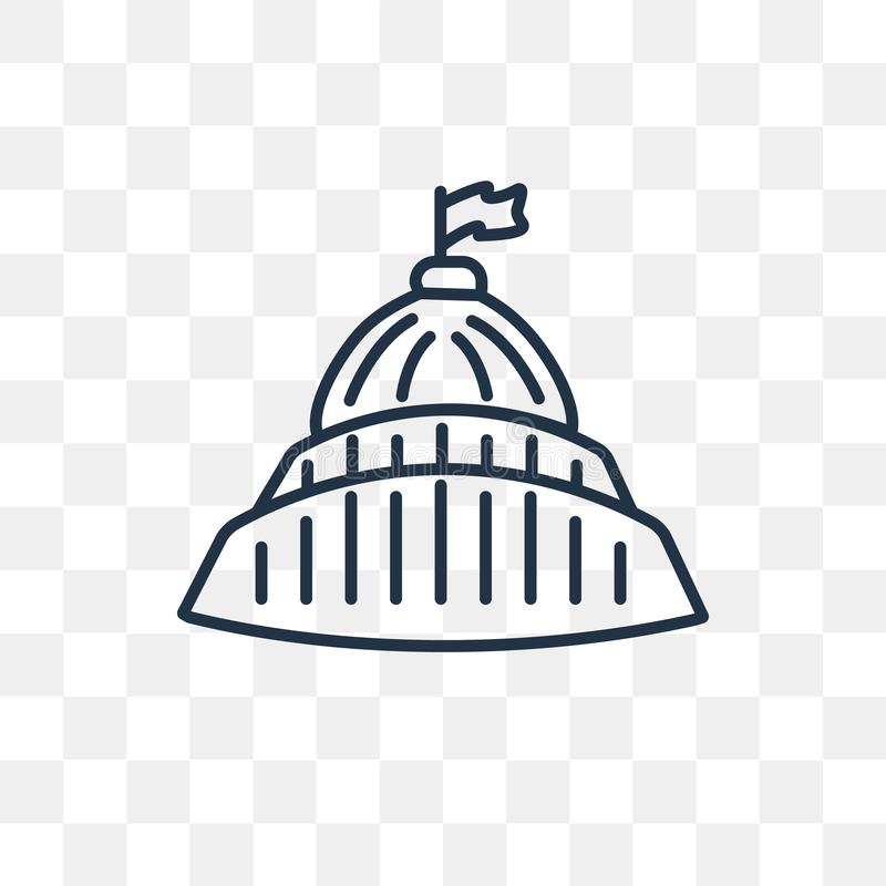 Symbol för Kapitoliumbyggnadsvektor som isoleras på genomskinlig bakgrund, vektor illustrationer
