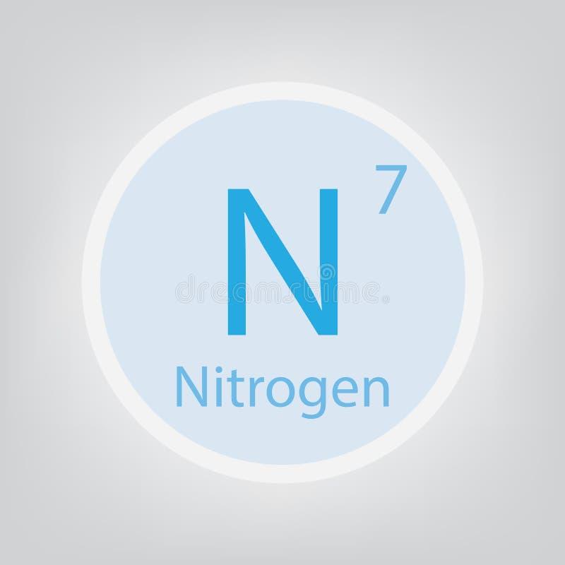Symbol för kemisk beståndsdel för gasformigt grundämne N stock illustrationer