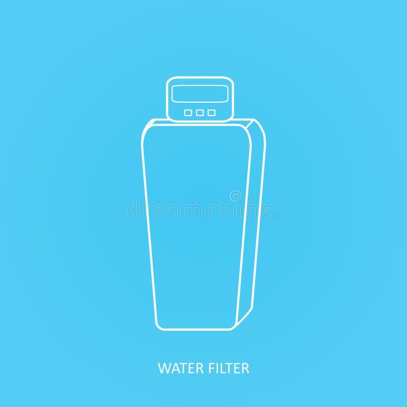Symbol för klappvattenfilter Drink och hem- filter för vattenrening Symbol för vektorvattenfilter Kabinett vattenavhärdarefilterv royaltyfri illustrationer