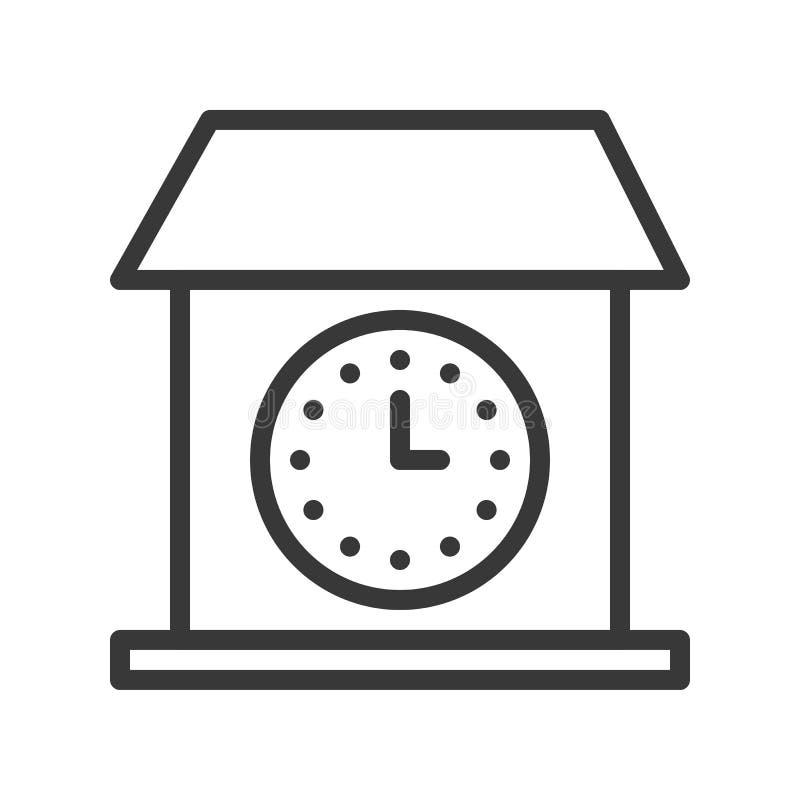 Symbol för klocka för tappninghusvägg, pi för slaglängd för översiktsdesign redigerbar royaltyfri illustrationer