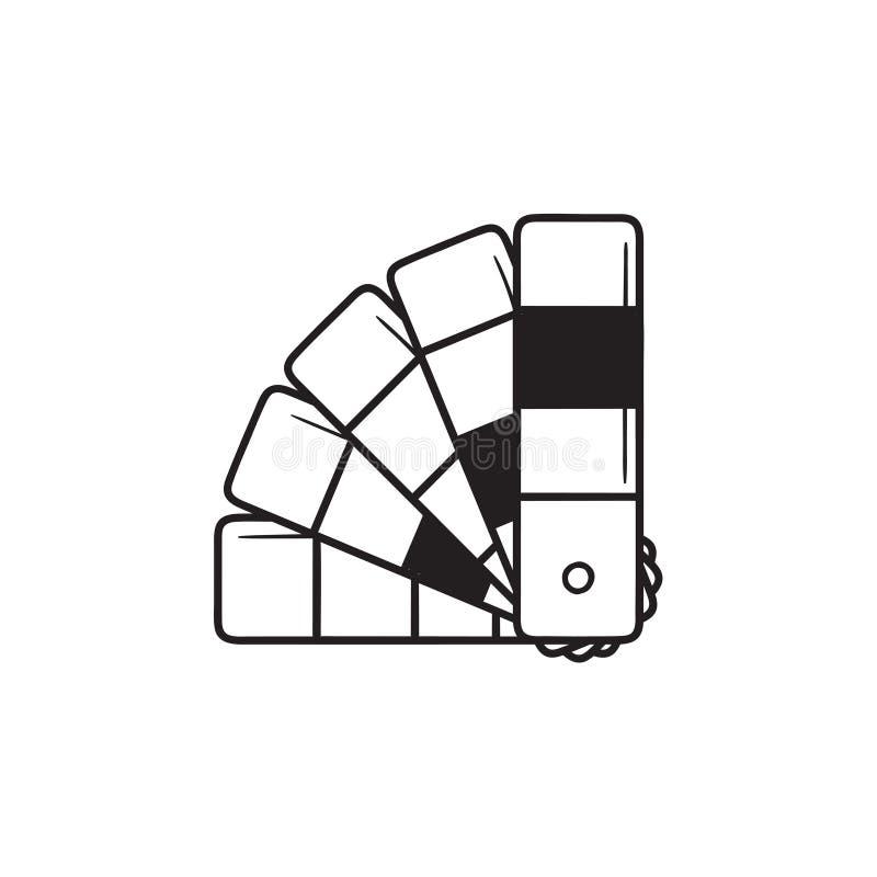 Symbol för klotter för översikt för hand för handbok för färgpalett utdragen royaltyfri illustrationer