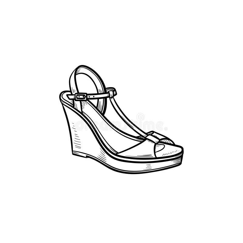 Symbol för klotter för översikt för kilsandal hand dragen stock illustrationer