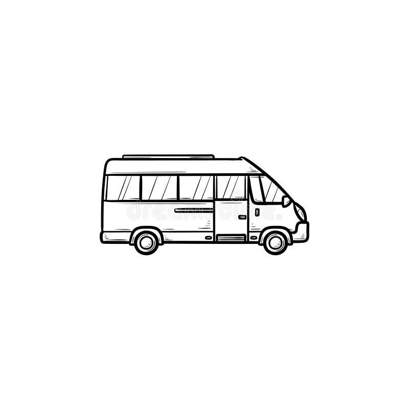 Symbol för klotter för översikt för minibusshand utdragen royaltyfri illustrationer
