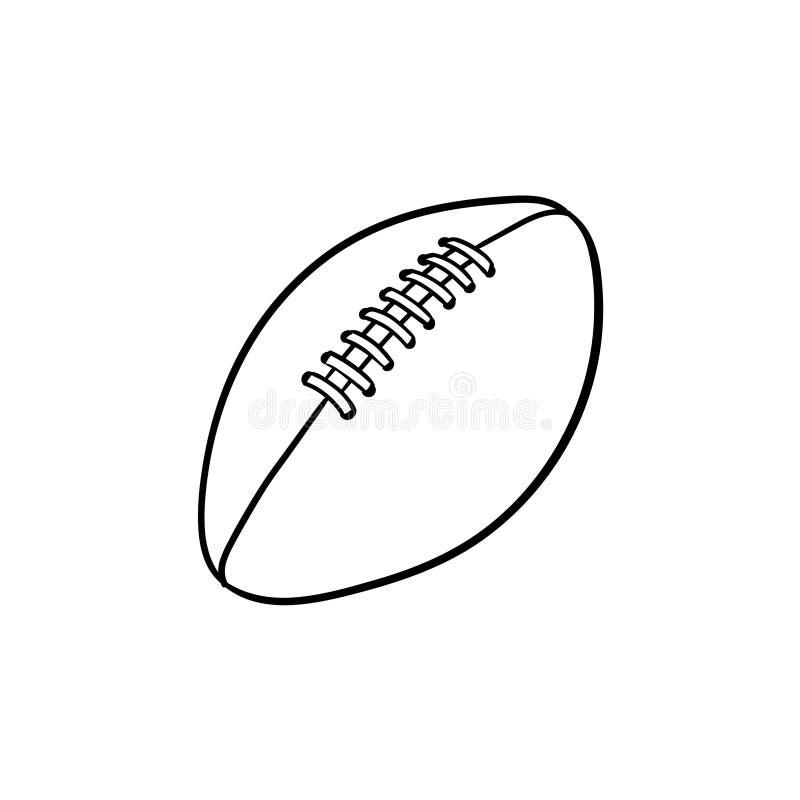 Symbol för klotter för översikt för rugbyboll hand dragen vektor illustrationer