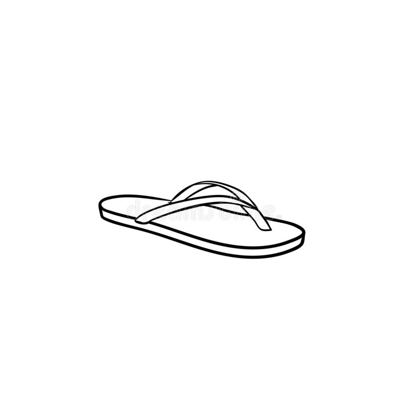 Symbol för klotter för översikt för sandal för Flipmisslyckande hand dragen vektor illustrationer