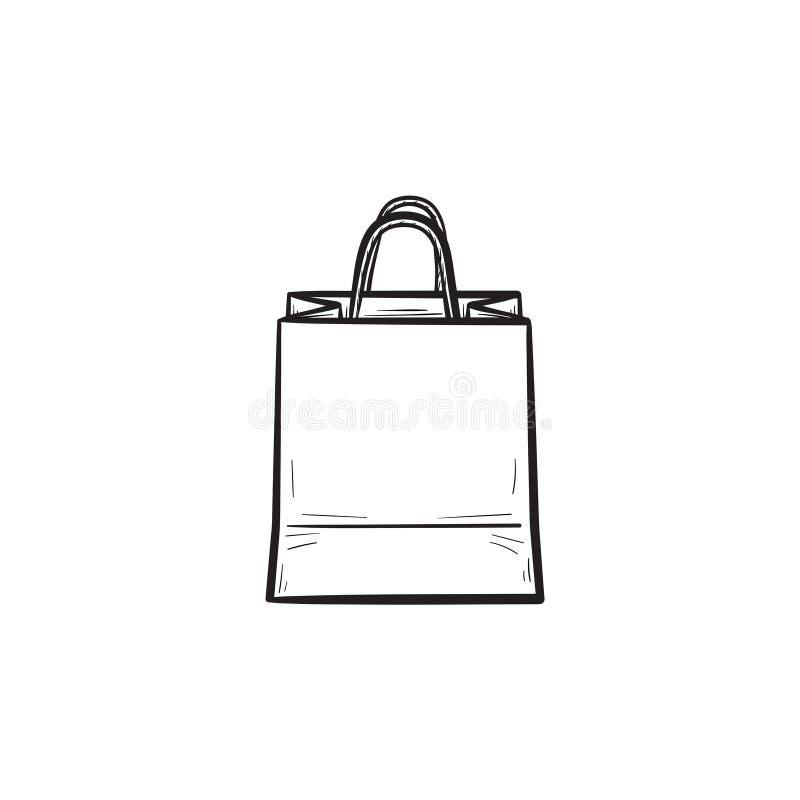 Symbol för klotter för översikt för shoppingpåse hand dragen royaltyfri illustrationer