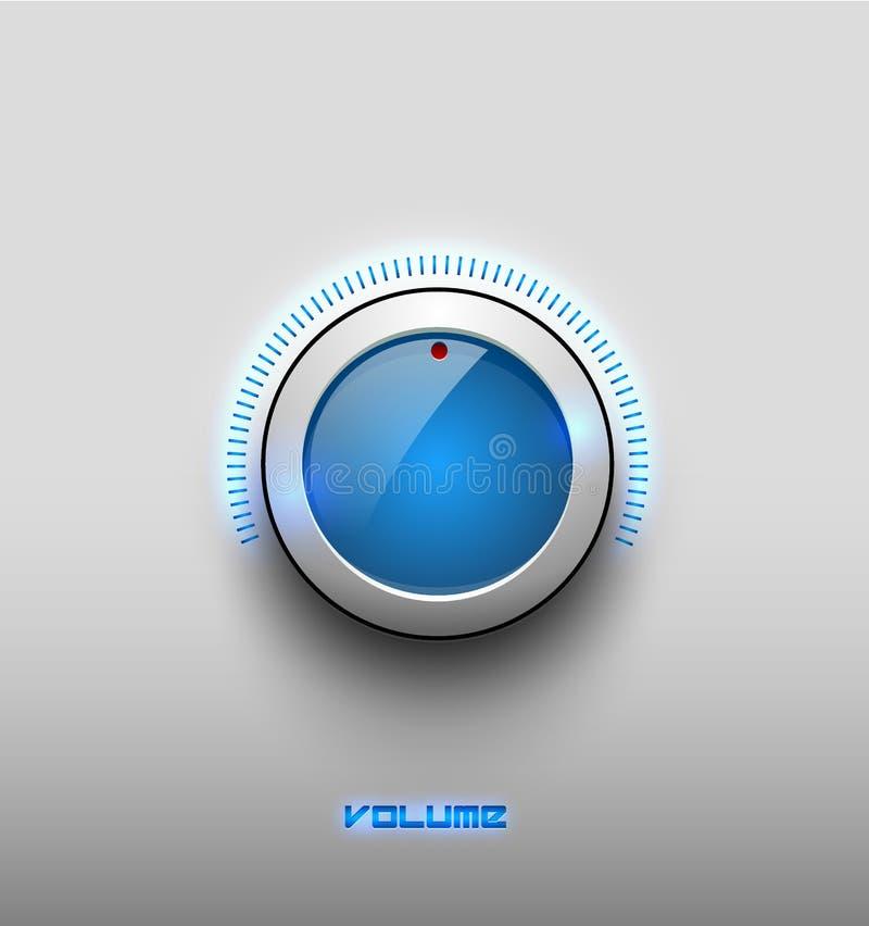 Symbol för knapp för glöd för teknologimusikblått glansig, volyminställningar, solid knopp för kontrollvektor med den vita plast- stock illustrationer