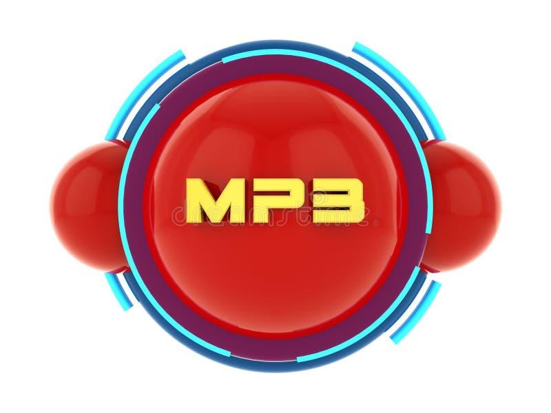 Symbol för knapp MP3 vektor illustrationer