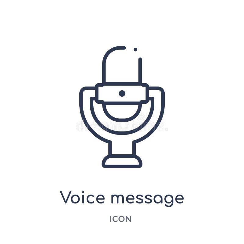 symbol för knapp för stämmameddelandemikrofon från användargränssnittöversiktssamling Tunn linje symbol för knapp för stämmamedde royaltyfri illustrationer