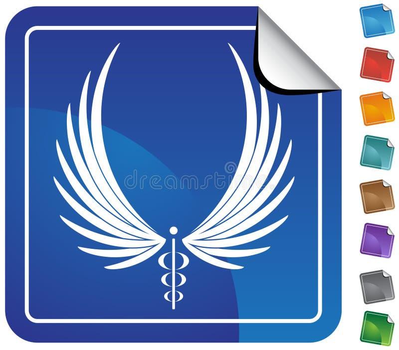 symbol för knappcaduceusläkarundersökning stock illustrationer