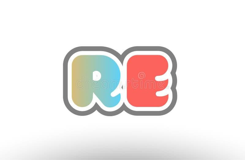 symbol för kombination för logo för orange bokstav beträffande r e för pastellblåttalfabet royaltyfri illustrationer