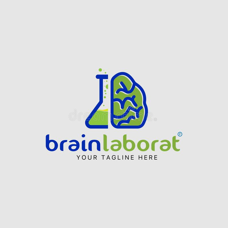 Symbol för kombination för mall för design för hjärnlaboratoriumlogo vektor illustrationer