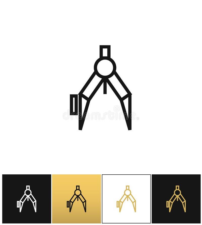 Symbol för kompass- eller arkitektpassarevektor vektor illustrationer