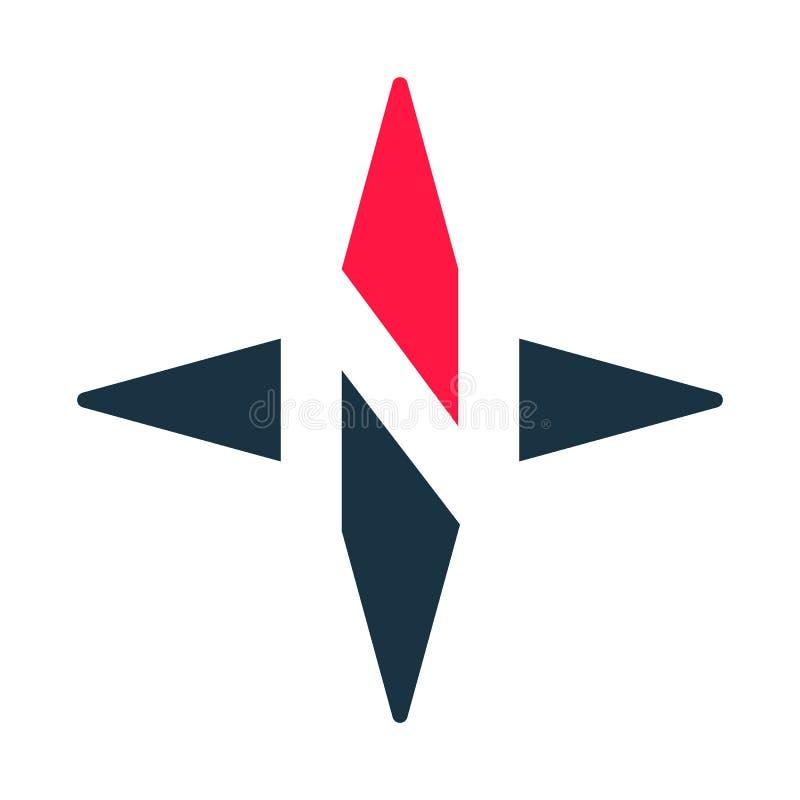 Symbol för kompasspilvektor N-logotyp vektor illustrationer