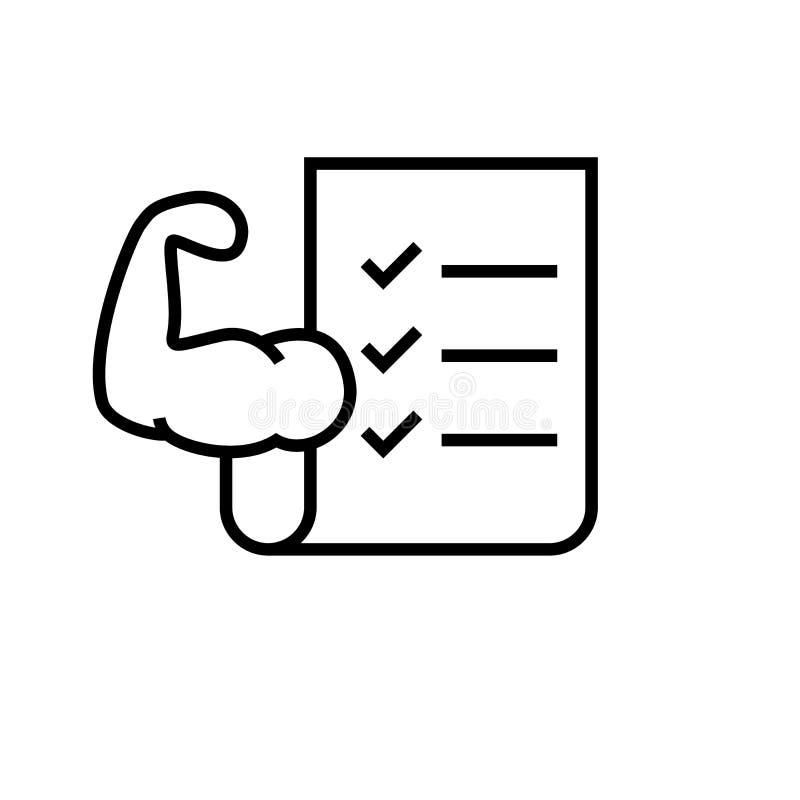 Symbol för konditionövningsplan genomkörarelistaark med handmuskelsymbolet för bodybuildingprogram enkelt monolinediagram stock illustrationer