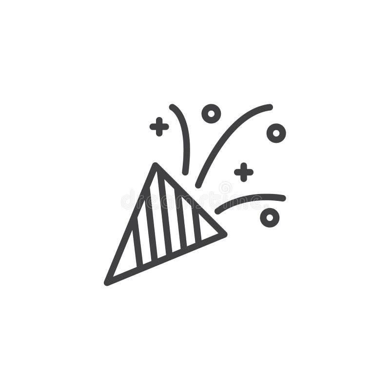 Symbol för konfettipopcornapparatöversikt vektor illustrationer