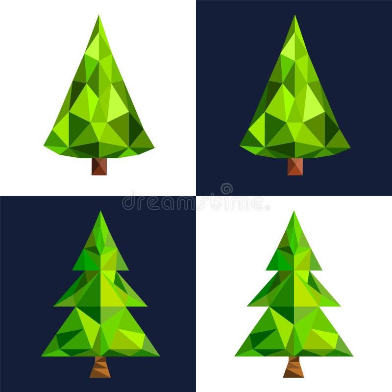 Symbol för konst för PIXEL 3d för julgran plan lowpoly vektor illustrationer