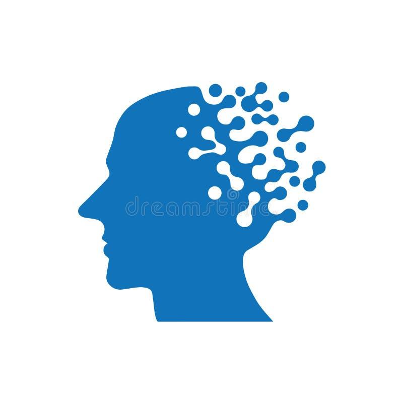 Symbol för konstgjord intelligens Mänsklig AI-vektorillustration vektor illustrationer