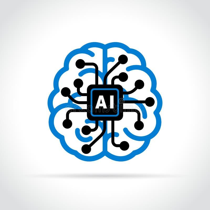 Symbol för konstgjord intelligens på vit bakgrund royaltyfri illustrationer