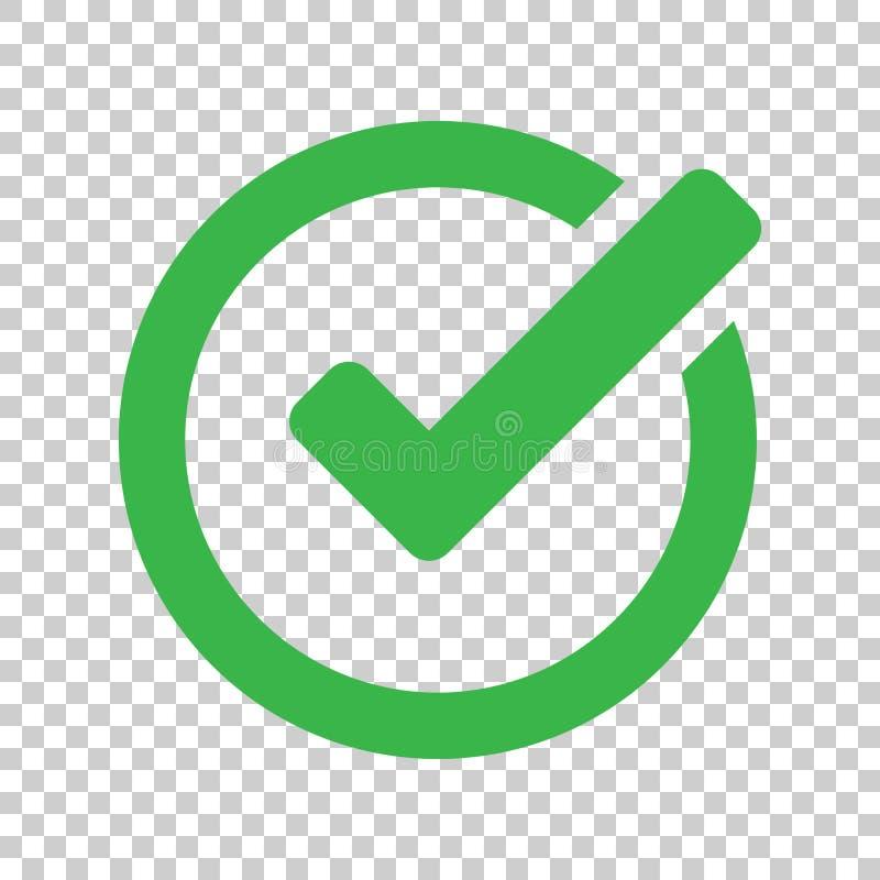 Symbol för kontrollfläck i plan stil Ok på, acceptera vektorillustrationen stock illustrationer