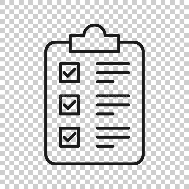 Symbol för kontrollistaskrivplattatecken i genomskinlig stil Illustration för dokumentlistavektor på isolerad bakgrund fr?geformu royaltyfri illustrationer